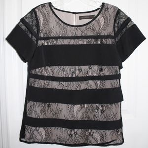 The Limited black lace short sleeve top